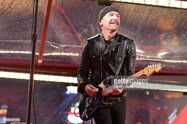 Guitarist The Edge of U2 performs on World AIDS Day at 'A Thank You' presented by RED on December 1 2014 in New York City Photo by Slaven...