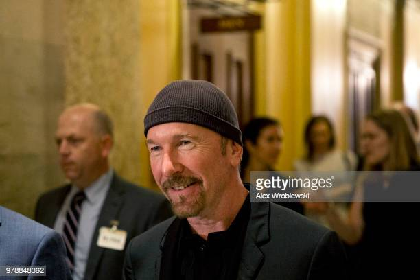 U2 guitarist 'The Edge' walks through at the US Capitol on June 19 2018 in Washington DC The Edge and singer Bono are meeting with Republican and...