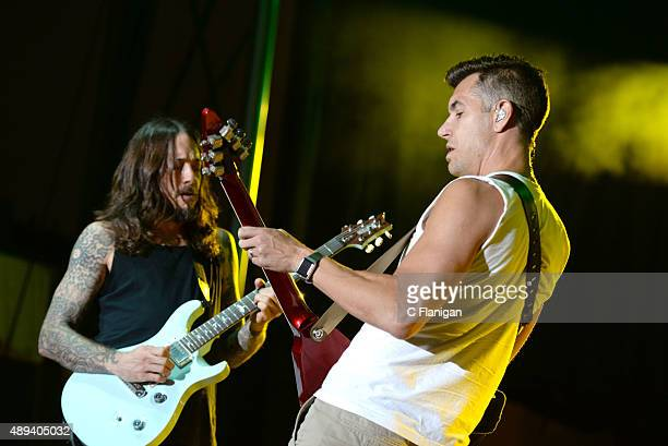 Guitarist Tim Mahoney and singer Nick Hexum of 311 perform onstage during 2015 KAABOO Del Mar at the Del Mar Fairgrounds on September 20, 2015 in Del...