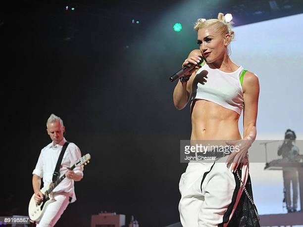 Guitarist Tom Dumont and singer Gwen Stefani of No Doubt perform at the Gibson Amphitheatre on July 22 2009 in Universal City California