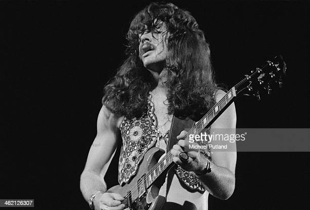 Guitarist Tom Johnston performing with American rock group The Doobie Brothers at the Rainbow Theatre London 31st January 1974