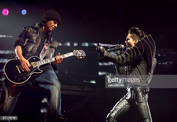 Guitarist Tom Kaulitz and singer Bill Kaulitz of the German rock band Tokio Hotel perform live during a concert at the Color Line Arena on February...