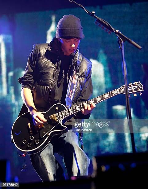 Guitarist Tom Kaulitz of the German rock band Tokio Hotel performs live during a concert at the Color Line Arena on February 28 2010 in Hamburg...