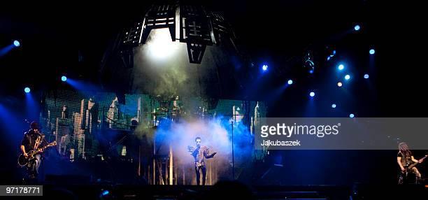 Guitarist Tom Kaulitz singer Bill Kaulitz and bassist Georg Moritz Hagen Listing of the German rock band Tokio Hotel perform live during a concert at...