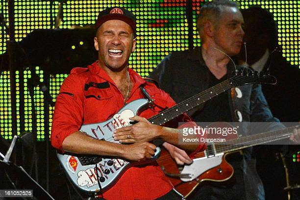 Guitarist Tom Morello performs onstage at The 2013 MusiCares Person Of The Year Gala Honoring Bruce Springsteen at Los Angeles Convention Center on...