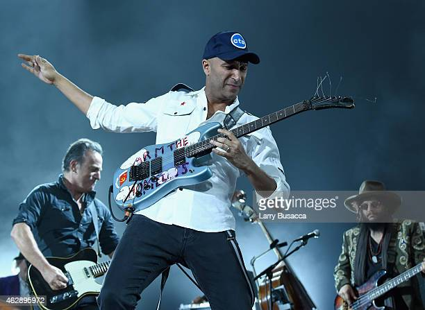 Guitarist Tom Morello performs onstage at the 25th anniversary MusiCares 2015 Person Of The Year Gala honoring Bob Dylan at the Los Angeles...
