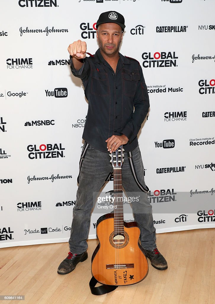 Guitarist Tom Morello poses backstage at Global Citizen: The World On Stage at NYU Skirball Center on September 22, 2016 in New York City.