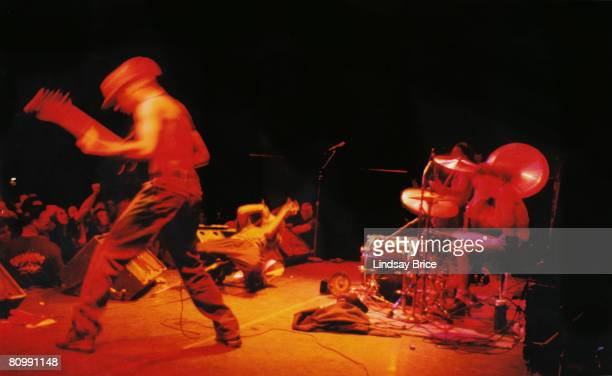 Guitarist Tom Morello vocalist Zack de la Rocha bassist Tim Commerford and drummer Brad Wilk perform in Rage Against the Machine at The Palace in...