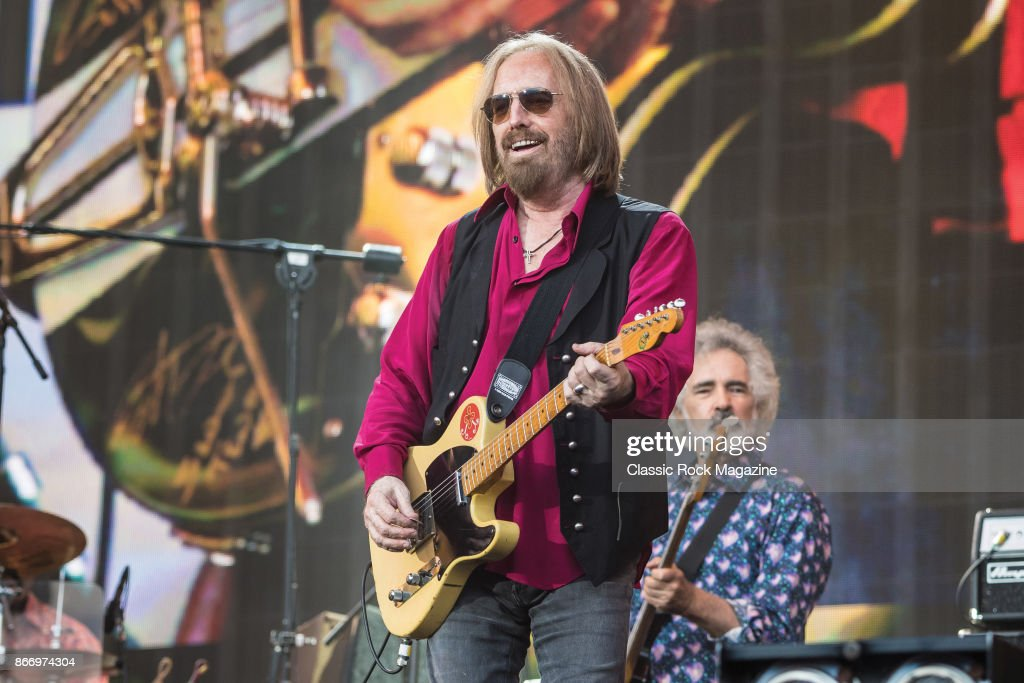 Guitarist Tom Petty (L) and bassist Ron Blair of American rock group Tom Petty And The Heartbreakers performing live on stage at Hyde Park in London, England, on July 9, 2017.