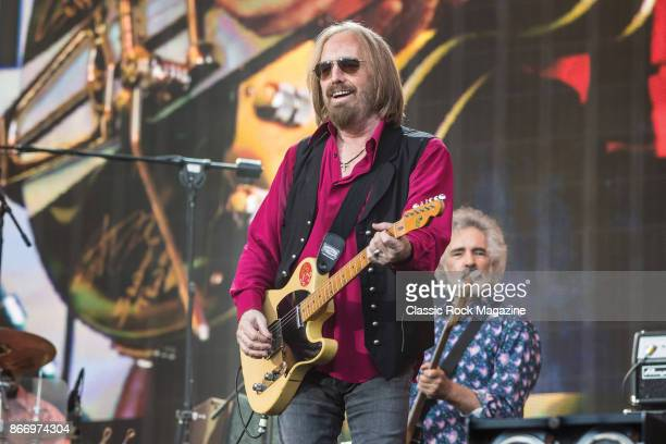 Guitarist Tom Petty and bassist Ron Blair of American rock group Tom Petty And The Heartbreakers performing live on stage at Hyde Park in London...