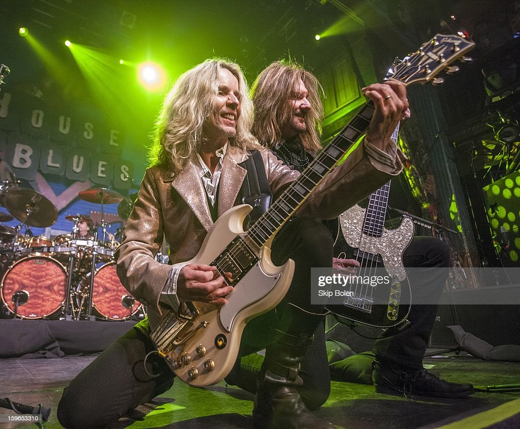 Guitarist Tommy Shaw and bassist Ricky Phillips of Styx performs at the House of Blues on January 17, 2013 in New Orleans, Louisiana.