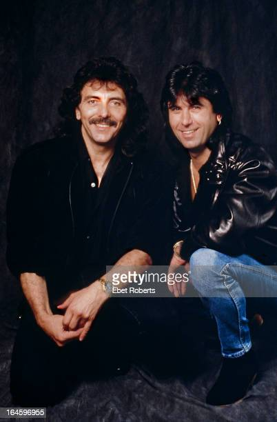 Guitarist Tony Iommi and drummer Cozy Powell of English rock group Black Sabbath circa 1990
