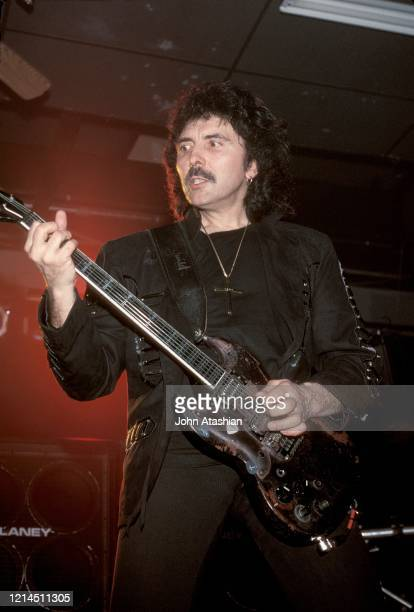 Guitarist Tony Iommi is shown performing on stage during a live concert appearance with Black Sabbath on February 8, 1994.