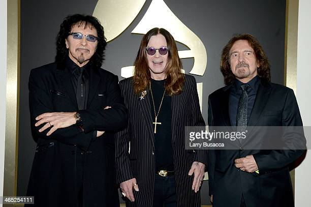 Guitarist Tony Iommi singer Ozzy Osbourne and bassist Geezer Butler attend the 56th GRAMMY Awards at Staples Center on January 26 2014 in Los Angeles...
