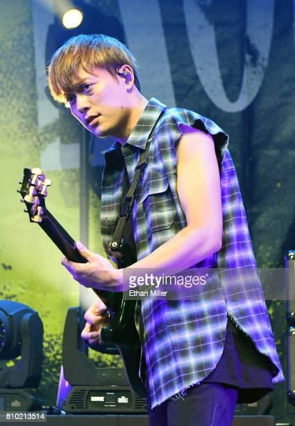 Guitarist Toru Yamashita of One OK Rock performs as the band kicks off the Ambitions U.S. Tour 2017 at Brooklyn Bowl Las Vegas on July 6, 2017 in Las...