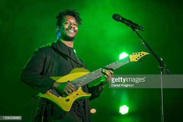 Guitarist Tosin Abasi of Animals As Leaders performs on stage at The NAMM Show 2020 - Day 1 at Anaheim Convention Center on January 16, 2020 in...