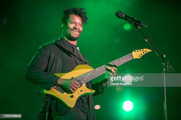 Guitarist Tosin Abasi of Animals as Leaders performs on stage at The NAMM Show 2020 Day 1 at Anaheim Convention Center on January 16, 2020 in...