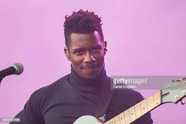 Guitarist Tosin Abasi of Generation Axe performs on stage at Humphrey's on April 10, 2016 in San Diego, California.