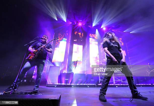 Guitarist Travis Stever and frontman Claudio Sanchez of Coheed and Cambria perform at The Joint inside the Hard Rock Hotel Casino on June 28 2019 in...