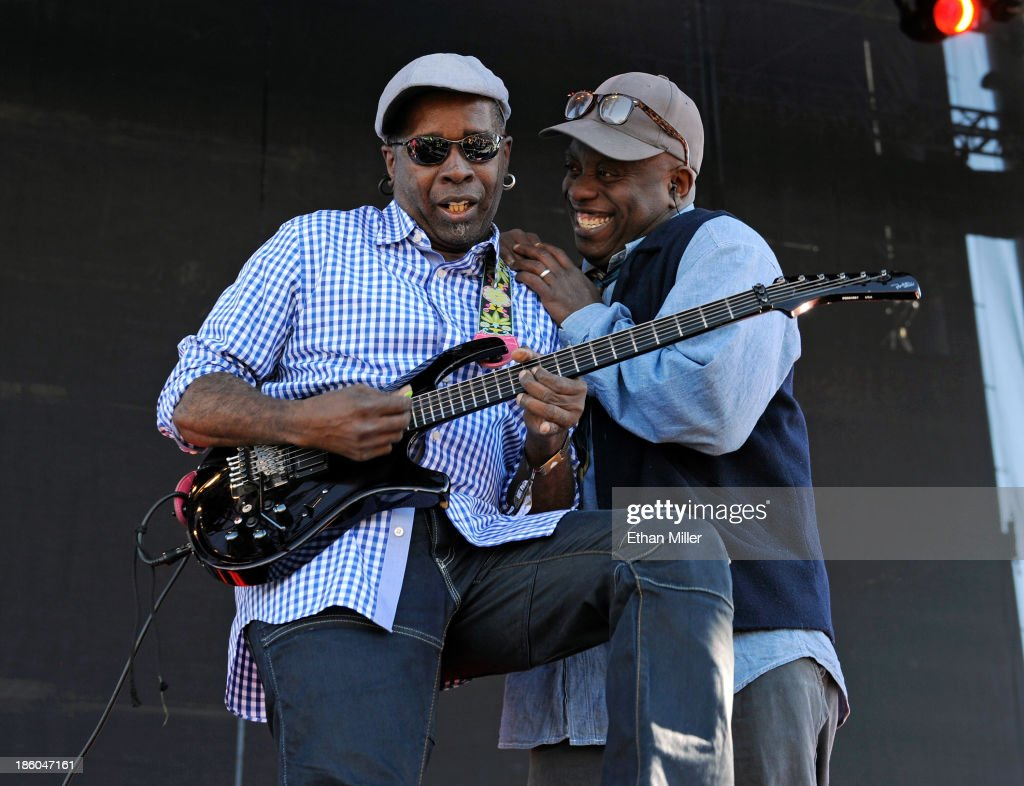 Guitarist Vernon Reid (L) and singer Corey Glover of Living Colour perform during the Life is Beautiful festival on October 27, 2013 in Las Vegas, Nevada.