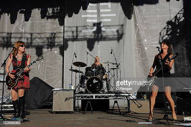 Guitarist Vicki Peterson Drummer Debbi Peterson and Guitarist/Vocalist Susanna Hoffs of The Bangles perform during the 2010 Lilith Fair at the...