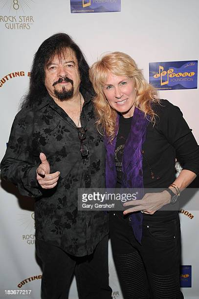 Guitarist Vinny Martell and author and photographer Lisa Johnson attend the book launch and performance for '108 Rock Star Guitars' benefitting The...