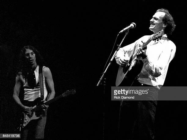 Guitarist Waddy Wachtel and Singer/Songwriter James Taylor perform at The Atlanta Civic Center in Atlanta Georgia May 13 1981
