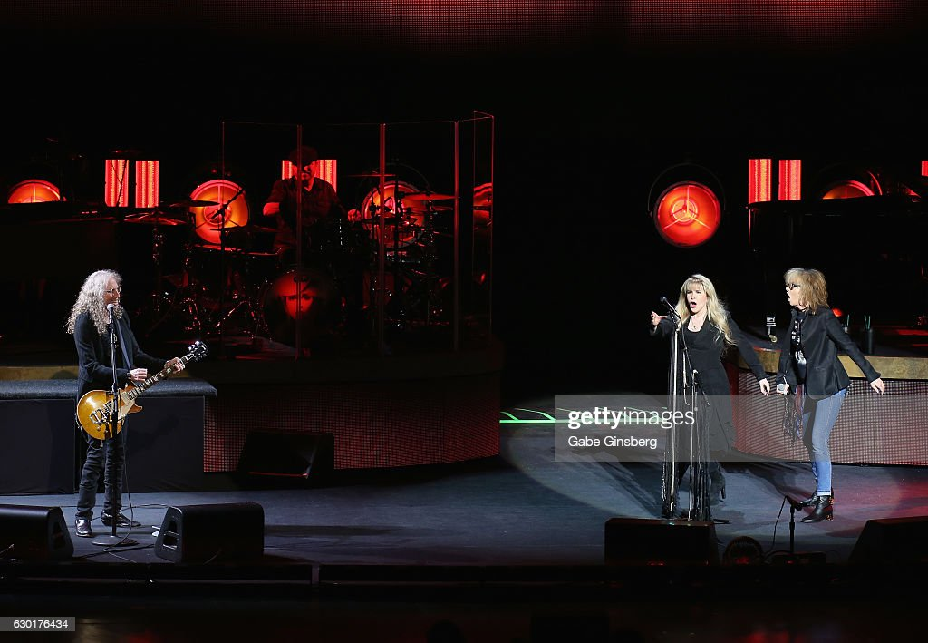 Guitarist Waddy Wachtel, singer/songwriter Stevie Nicks and recording artist Chrissie Hynde of The Pretenders perform during the grand opening of Park Theater at Monte Carlo Resort and Casino on December 17, 2016 in Las Vegas, Nevada.