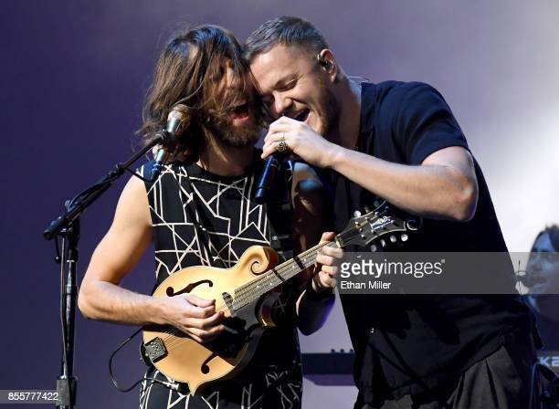 Guitarist Wayne Sermon and frontman Dan Reynolds of Imagine Dragons perform during a stop of the band's Evolve World Tour at TMobile Arena on...