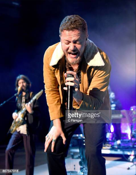 Guitarist Wayne Sermon and frontman Dan Reynolds of Imagine Dragons perform during a stop of the band's Evolve World Tour at Shoreline Amphitheatre...