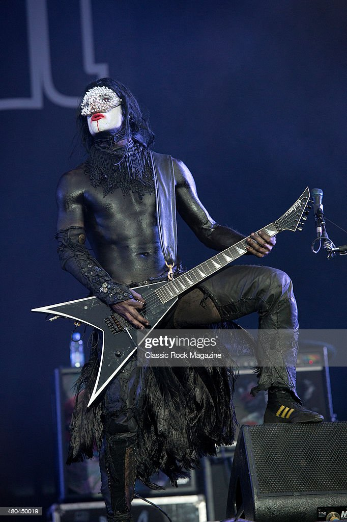 Guitarist Wes Borland of American rap metal group Limp Bizkit performing live on the Main Stage at Download Festival on June 16, 2013.
