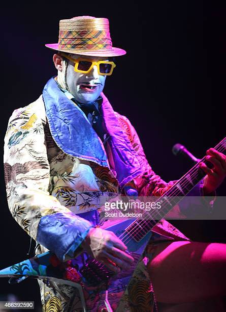 Guitarist Wes Borland of Limp Bizkit performs onstage at The Forum on March 14 2015 in Inglewood California