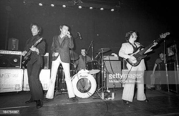 Guitarist Wilko Johnson singer Lee Brilleaux drummer John 'The Big Figure' Martin and bassist John B Sparks of the English RB group Dr Feelgood...