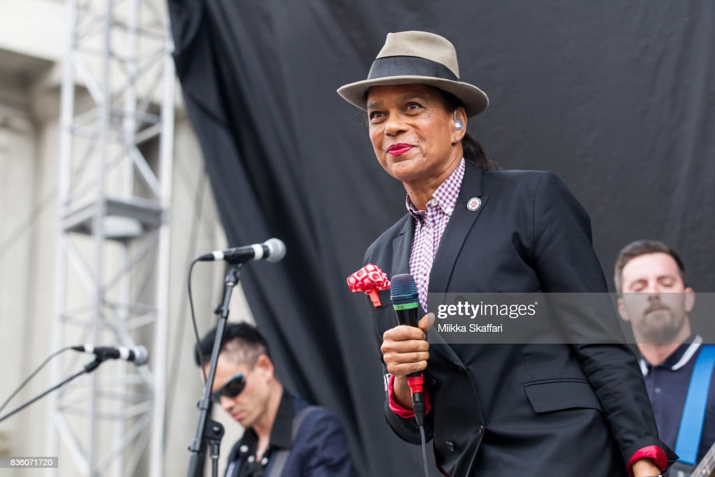 Guitarist Will Crewdson, bassist Luke Palmer and vocalist Pauline Black of The Selecter perform at The Greek Theater on August 20, 2017 in Berkeley, California.