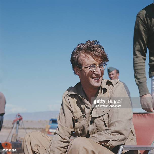 Guitarist with The Beatles John Lennon pictured dressed in character as Muskateer Gripweed on location in Almeria Spain during production of the film...