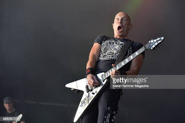 Guitarist Wolf Hoffmann of German heavy metal group Accept performing live on stage at Bloodstock Open Air festival in Derbyshire on August 9 2013