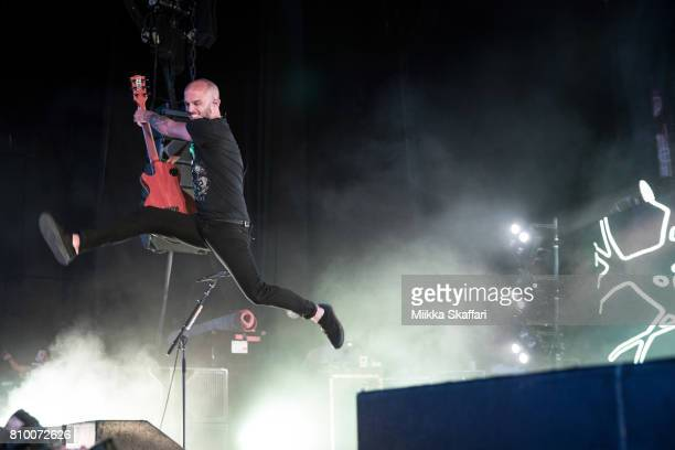 Guitarist Zach Blair of Rise Against performs at Concord Pavilion on July 6, 2017 in Concord, California.