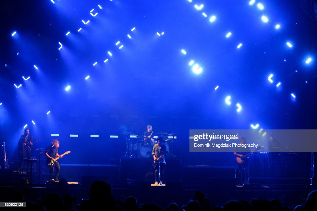 Guitarist Zach Filkins, guitarist, Drew Brown, drummer Eddie Fisher, singer Ryan Tedder, bassist Brent Kutzle and touring member Brian Willet of OneRepublic perform on stage during the '2017 Honda Civic Tour' at the Budweiser Stage on August 12, 2017 in Toronto, Canada.