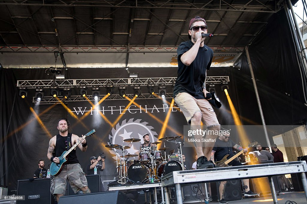 Guitarist Zach Householder, vocalist Phil Bozeman. drummer Ben Harclerode and bassist Gabe Crisp of Whitechapel perform at Aftershock Festival at Discovery Park on October 23, 2016 in Sacramento, California.