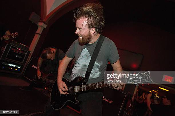 Guitarist Zack Fitzpatrick of the band Honour Crest performs live onstage at Old National Centre on September 21 2013 in Indianapolis Indiana