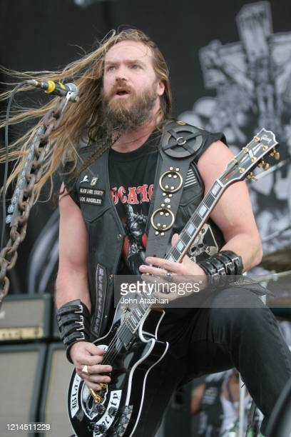 Guitarist Zakk Wylde is shown performing on stage during a live concert appearance with the Black Label Society on August 1, 2006.
