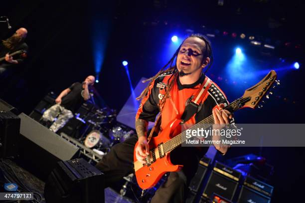 Guitarist Zoltan Bathory of American heavy metal group Five Finger Death Punch performing live on stage at the 2013 Golden Gods Awards in the O2...