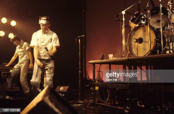 Guitaristkeyboardist Bob Casale and singerguitarist Mark Mothersbaugh of Devo perform at The Agora Ballroom on July 27 1979 in Atlanta Georgia