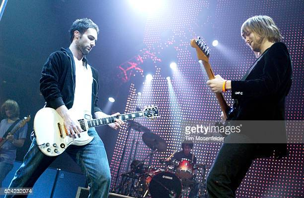 Guitarists Adam Levine and James Valentine of Maroon 5 perform in support of the Honda Civic Tour 2005 at the HP Pavilion in San Jose