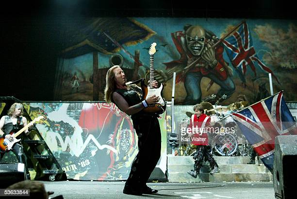 Guitarists Adrian Smith Dave Murray and lead singer Bruce Dickinson of Iron Maiden performs at Ozzfest 2005 at the Hyundai Pavilion on August 20 2005...
