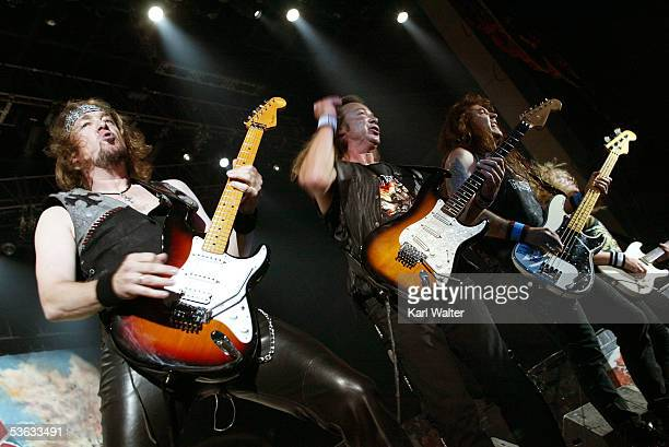 Guitarists Adrian Smith Dave Murray Steve Harris and Janick Gers of Iron Maiden performs at Ozzfest 2005 at the Hyundai Pavilion on August 20 2005 in...