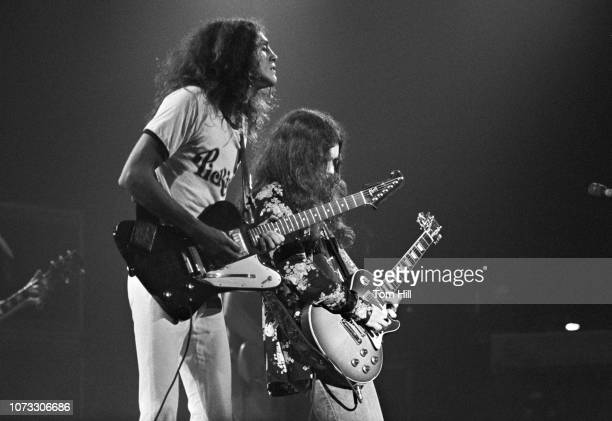 Guitarists Allen Collins and Gary Rossington of Lynyrd Skynyrd perform at the Fabulous Fox Theater on July 10 1976 in Atlanta Georgia