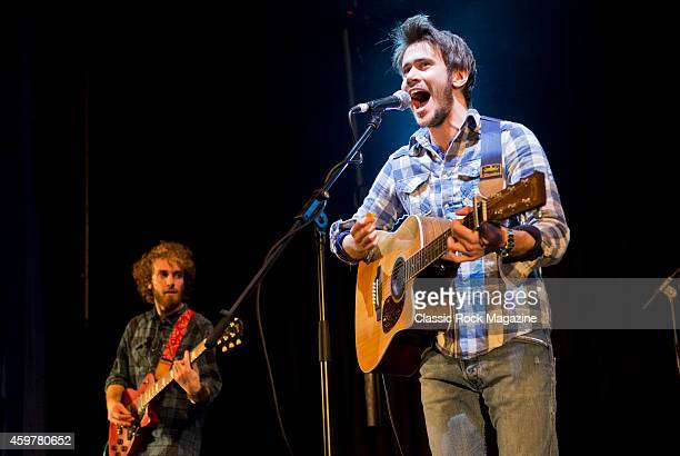 Guitarists Andrea Tessarolo and Giacomo Pavanello of Italian rock group Modigliani performing live on stage at The Great British Rock and Blues...