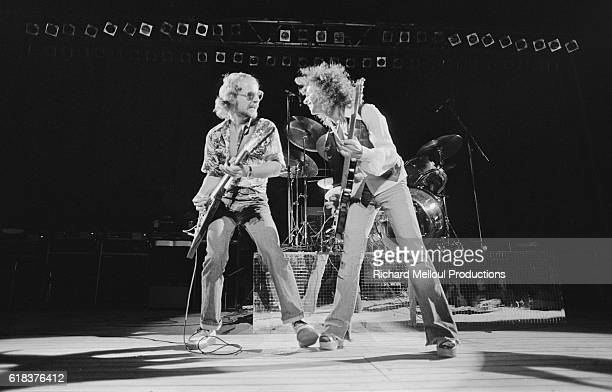 Guitarists Andy Powell and Ted Turner of the English rock band Wishbone Ash play at the Orange Rock Festival