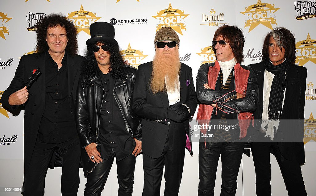 Guitarists (L-R) Brian May, Slash, Billy Gibbons, Jeff Beck and Joe Perry attend the Classic Rock Roll Of Honour Awards at the Park Lane Hotel on November 2, 2009 in London, England.